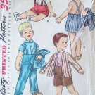 Vintage 50's Simplicity Toddler Boy's Playsuit Pattern Jacket Short and Overalls