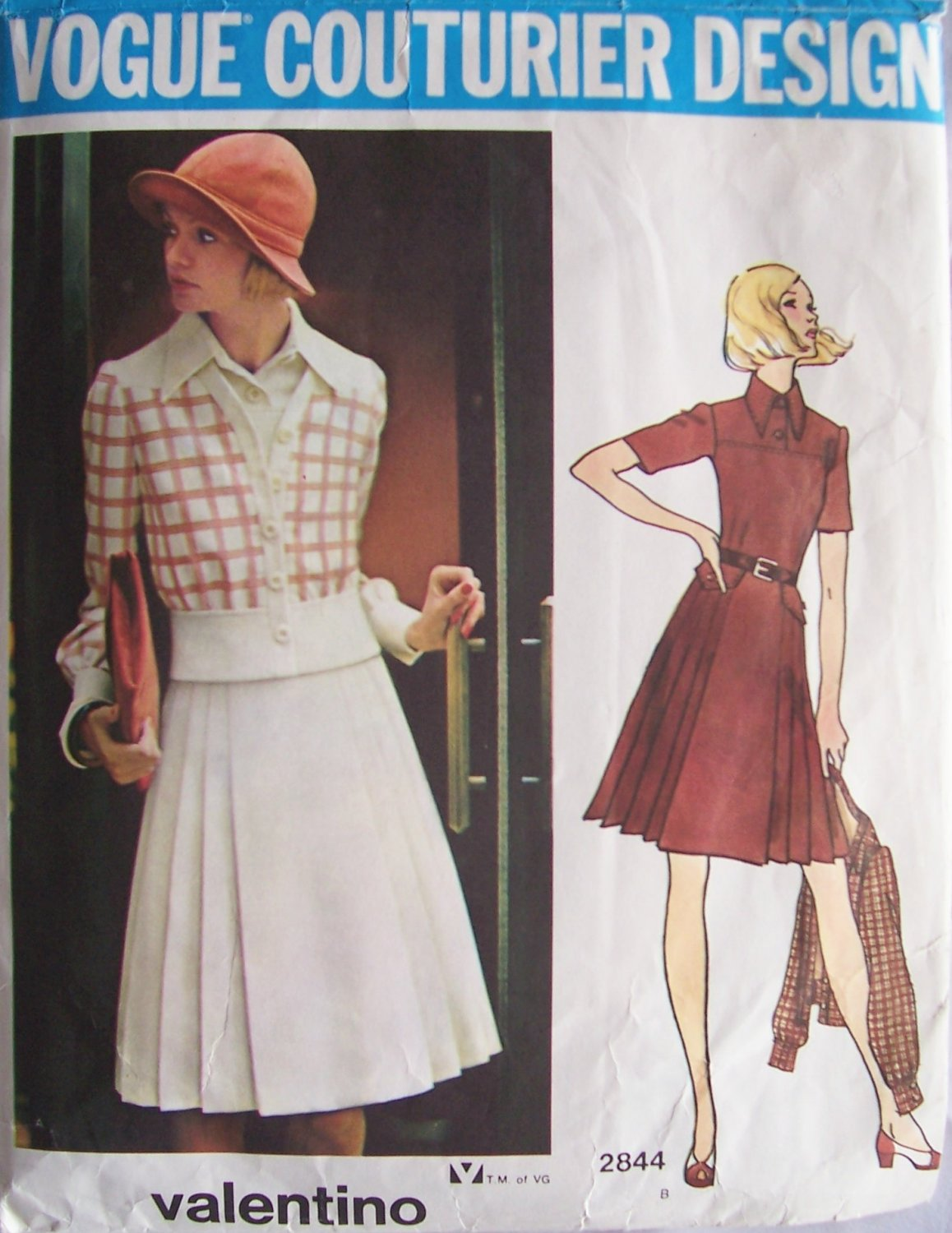 Vintage Vogue 2844 Valentino Couturier Dress and Cardigan Jacket Pattern Size 12 Bust 34