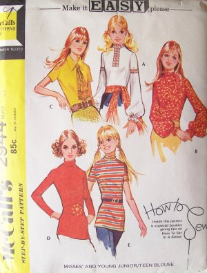 Vintage 70s McCall�s 2944 Back Zip Blouse Pattern Uncut Size 12 Bust 34 Long or Sleeveless