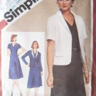 Vintage 80s Simplicity 9848 Raglan Sleeve Princess Seam Dress and Jacket Pattern Uncut Size 12