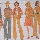 Vintage 70s Simplicity 7096 Shirt Jacket Bias Skirt Pants Pattern Uncut Size 12 Bust 34