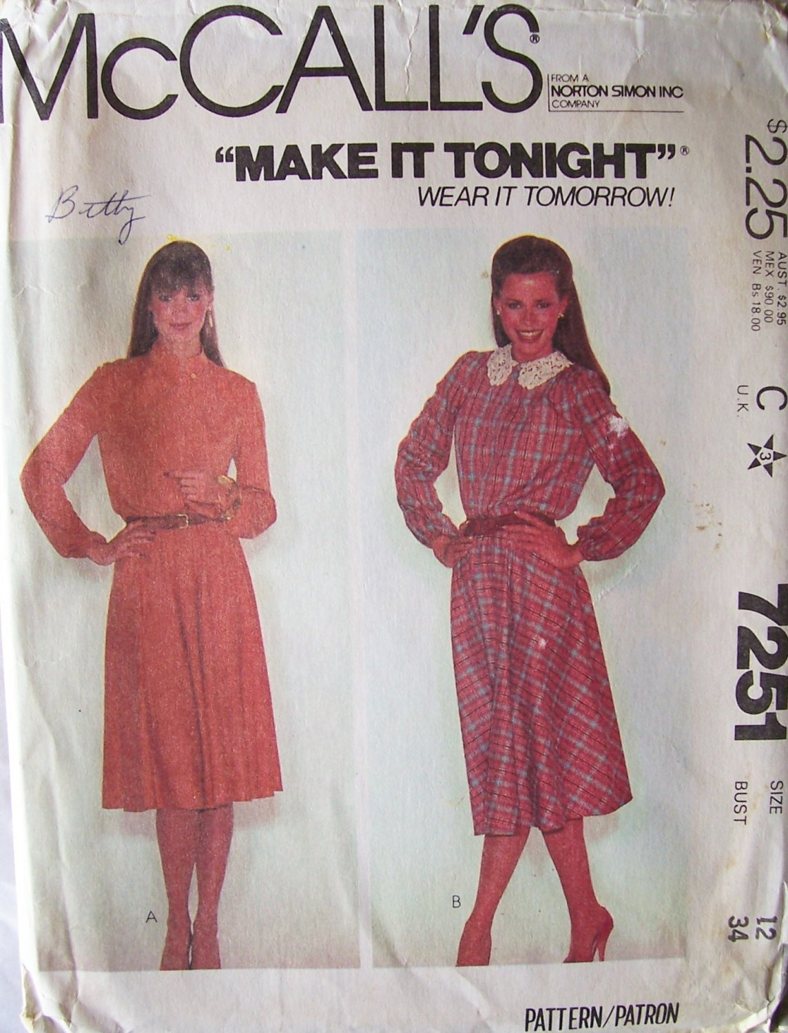 Vintage 1980 McCall�s 7251 Pullover Flared Skirt Long Sleeve Dress Pattern Uncut Size 12 Bust 34