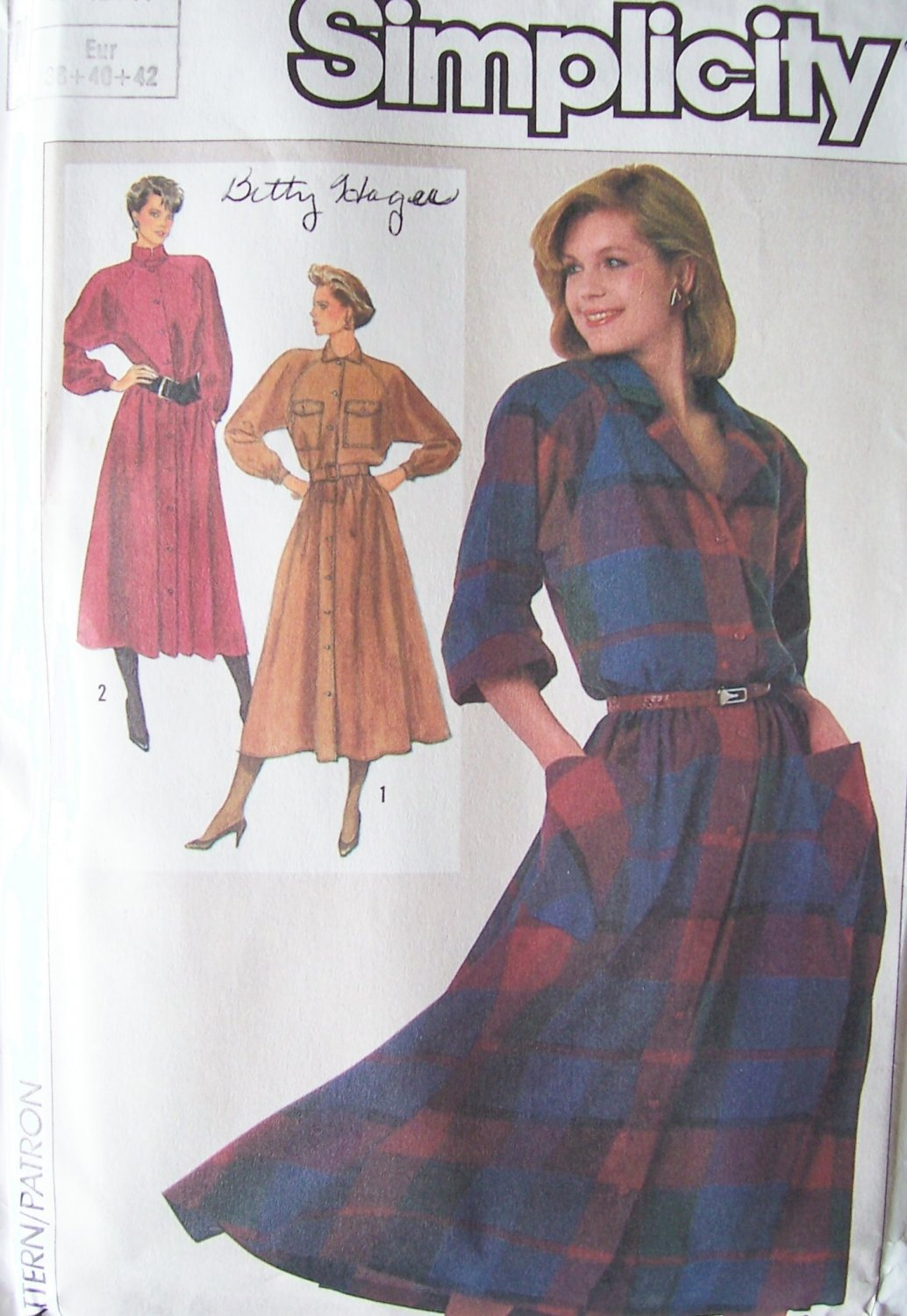 Vintage 80�s Simplicity 7040 Button Front Shirtdress Pattern Long Sleeve Size 10-14