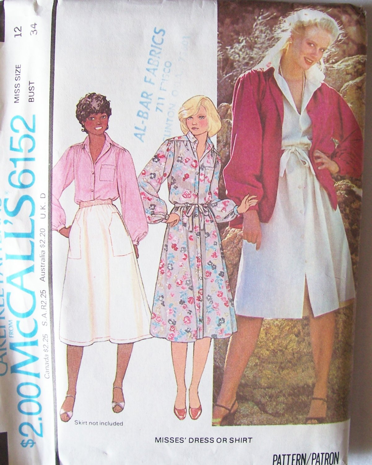 Vintage 70�s McCall�s 6152 Button Front Shirtdress or Shirt Pattern Uncut Size 12 Bust 34