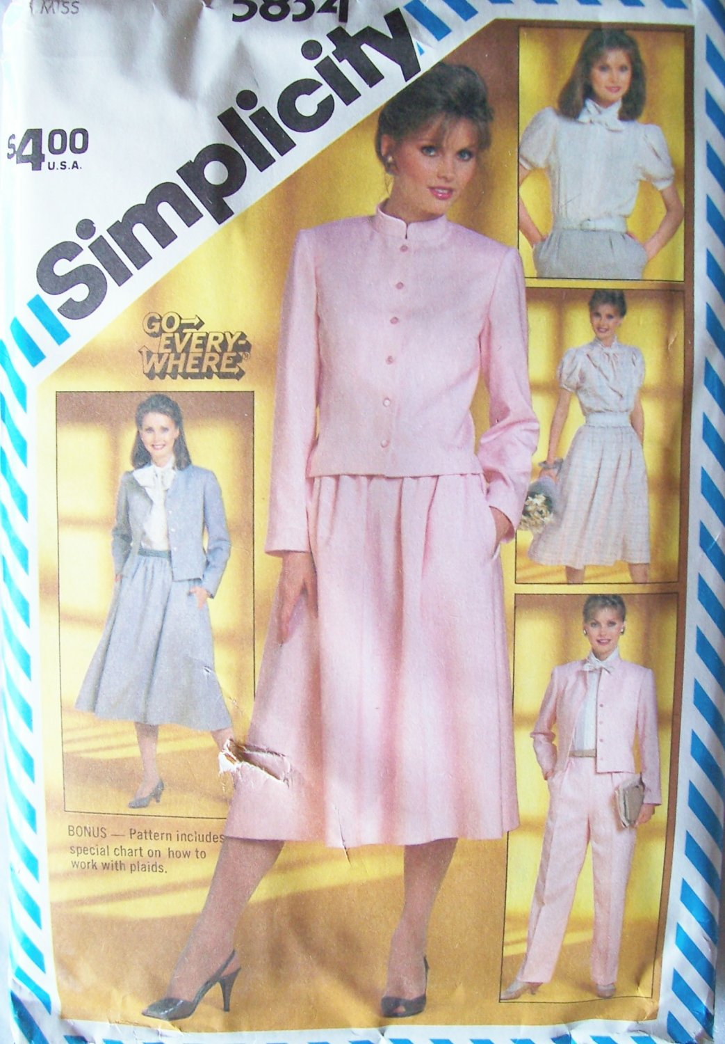 Vintage 80�s Simplicity 5834 Tie Collar Blouse Cropped Jacket Flared Skirt Pants Pattern Uncut