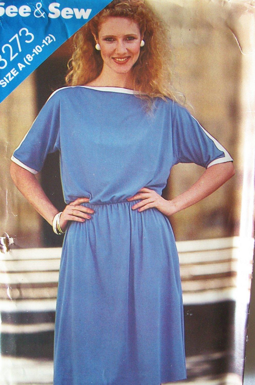 Vintage 80s Butterick 3273 Kimono Sleeve Dress Pattern Uncut Size 8-12 See and Sew