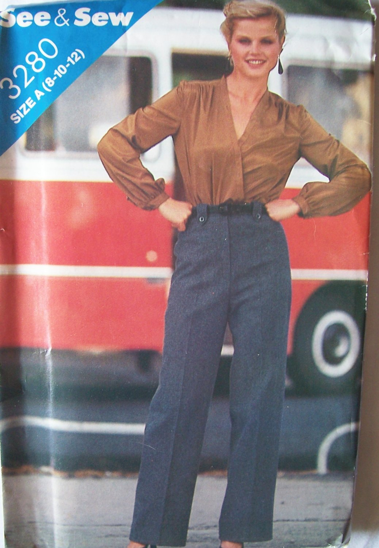 Vintage 80s Butterick 3280 Straight Leg Pants Sewing Pattern Uncut Size 8-12