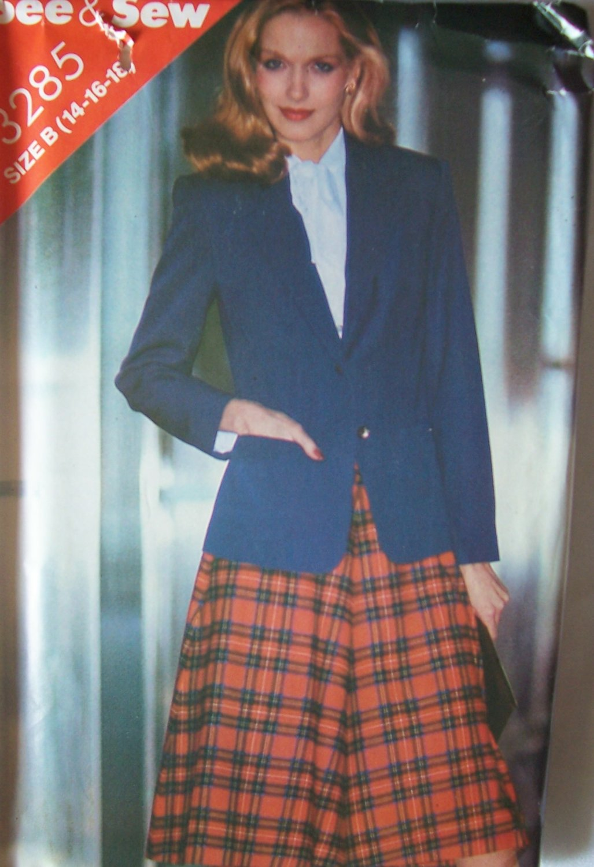 Retro 80�s Butterick 3285 Notched Collar Blazer Jacket Flared Skirt Pattern Uncut Size 14-16-18