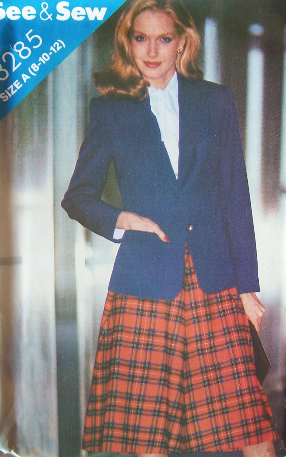 Vintage 80�s Butterick 3285 Flared Skirt and Notched Collar Jacket Pattern Uncut Size 8-12