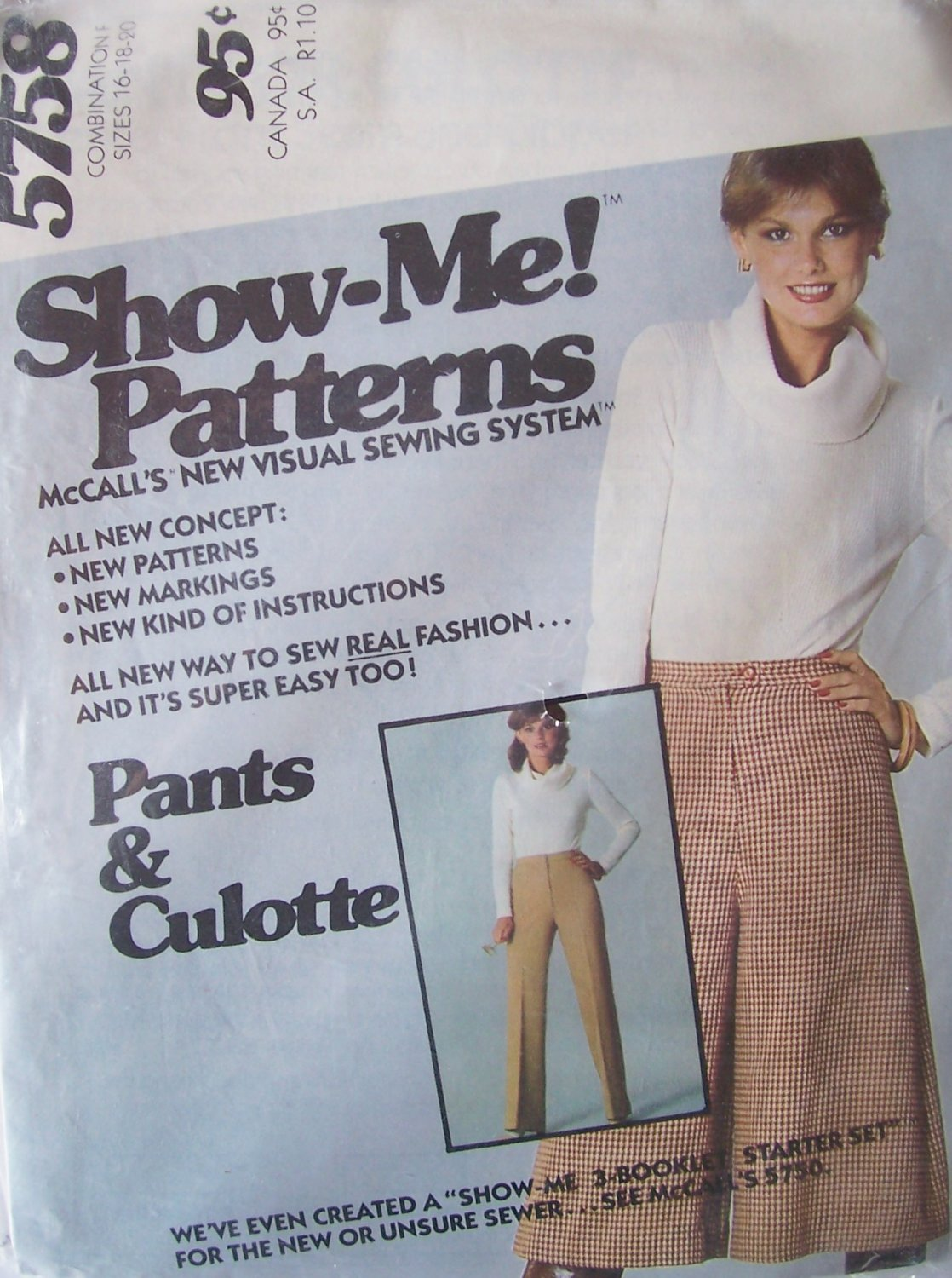 Vintage 70s McCall�s 5758 Straight Front Pants and Culottes Show Me Pattern Uncut Size 16-20