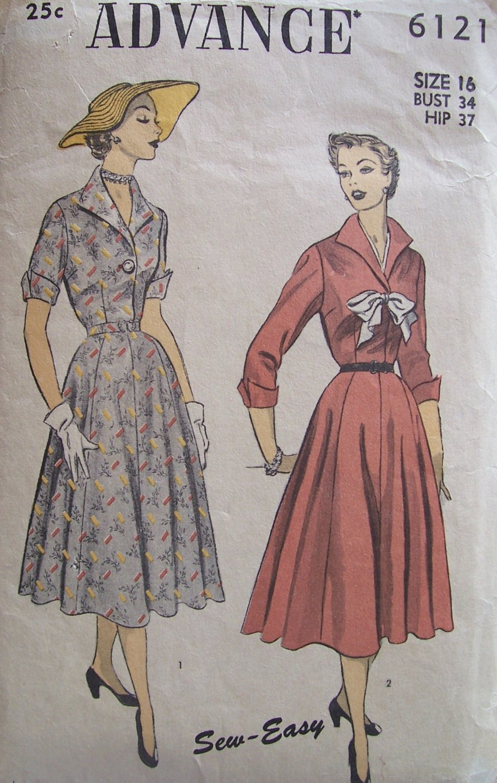 Vintage 40�s Advance 6121 Wing Collar Shirtwaist Dress Pattern Size 16 Bust 34