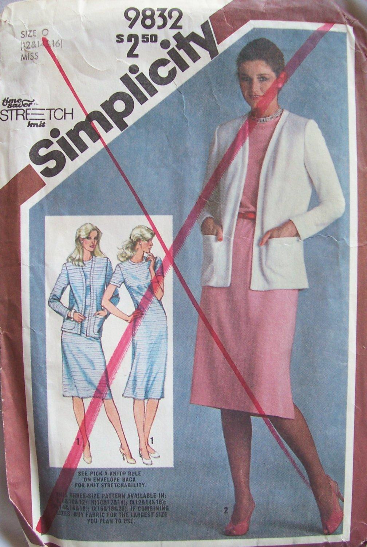 Vintage 1980 Simplicity 9832 Slim Fit Jewel Neck Straight Dress Cardigan Pattern Uncut Size 12-16