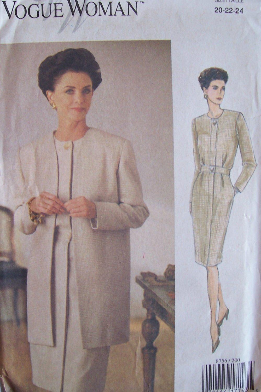 Vogue Woman 8756 Long Sleeve Collarless Dress and Jacket Pattern Uncut Size 20-24