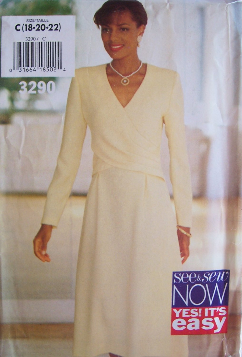Butterick 3290 See and Sew A-Line Tucker Overlay Dress Pattern Uncut Size 18-22 Long Sleeve