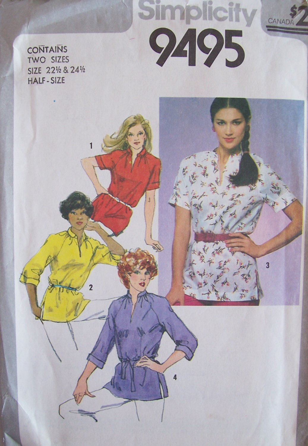 Vintage 80s Simplicity 9495 Pullover Tunic Top Pattern Standing Collar Raglan Sleeve Size 22.5-24.5