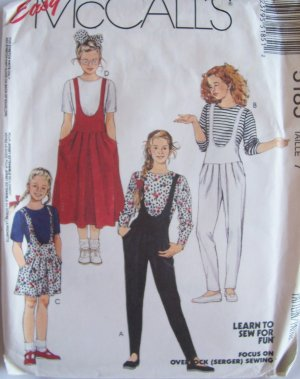 Easy McCall�s 5185 Girl�s Romper Jumper Jumpsuit Pattern Uncut Size 7 Retro 80�s Style