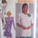 Vintage Butterick 4156 Straight Dress or Tunic Pattern Button Front Flounce Skirt Uncut Size 20-24