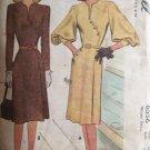 Vintage 40's McCall 6556 Bishop Sleeve Collarless Dress Asymmetrical Detail Uncut Size 16 B34