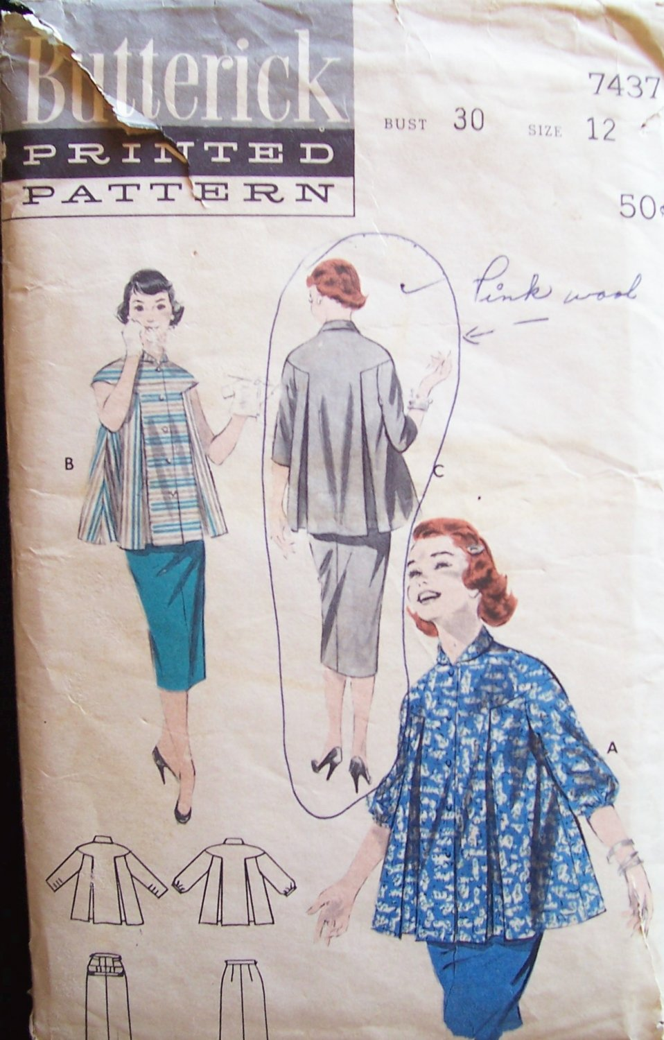 Vintage 50s Butterick 7437 Maternity Straight Skirt and Smock Top Pattern Size 12 B30