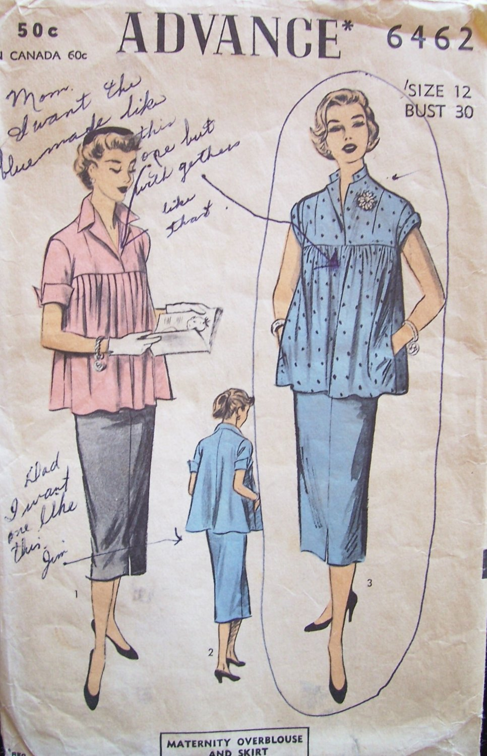 Vintage 50s Advance 6462 Maternity Blouse and Skirt Pattern Size 12 B30