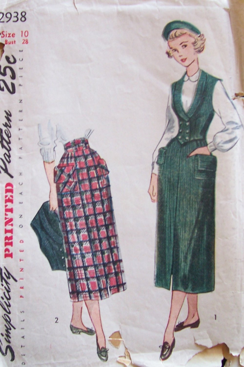 Vintage 40s Simplicity 2938 Slim Skirt and Double Breasted Weskit Vest Pattern Size 10 B28