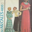 Vintage 70s McCall's 4833 Ruffled High Neck Top Maxi Formal Dress Pattern Uncut Size 14