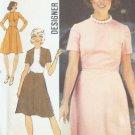 Vintage 70s Simplicity 6145 High Neck Flared Skirt Dress Pattern Uncut Size 12
