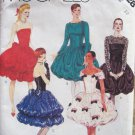 Vintage 80s McCall's 3328 Dropped Waist Bubble Evening Dress Pattern Uncut Long Sleeve Strapless