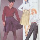 Vintage 80s McCall's 8696 Pleated Yoke Top Pants and Skirt Pattern Uncut Size 14