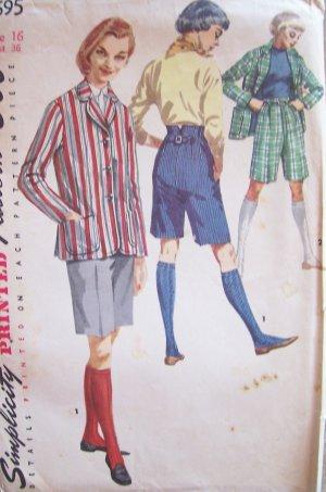Vintage 50s Simplicity 1695 Bermuda Shorts and Blazer Jacket Pattern Uncut Size 16