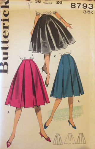 Vintage 50's Butterick 8793 Box Pleat Trapeze Skirt Pattern Size 26 Waist Uncut