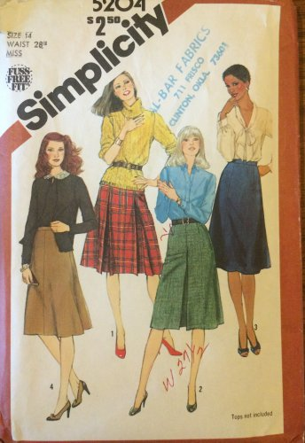Vintage Simplicity 5204 Box Pleat Flared or A-line Skirt Pattern Uncut Size 14