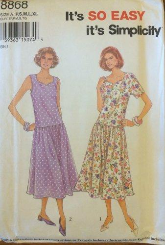 Simplicity 8868 Dropped Waist Pullover Dress Pattern Uncut Size S-XL