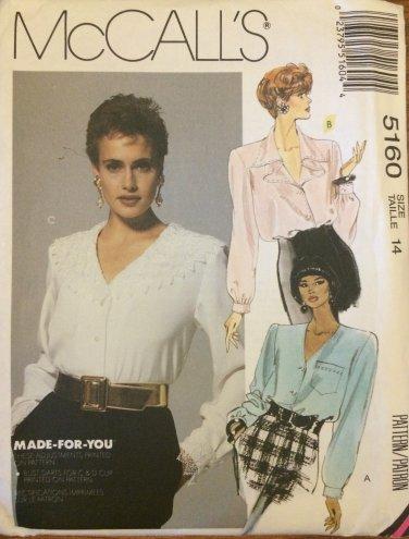 McCall's 5160 Dressy Long Sleeve Blouse Pattern Uncut Size 14