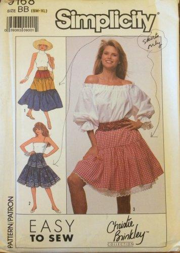 Vintage Simplicity 9168 Peasant Skirt Pattern Uncut Size S-XL Christie Brinkley Collection