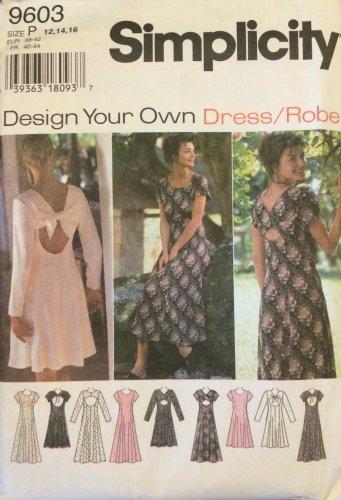 Simplicity 9603 Princess Seam Flared Back Dress Pattern Uncut Size Petite12-16