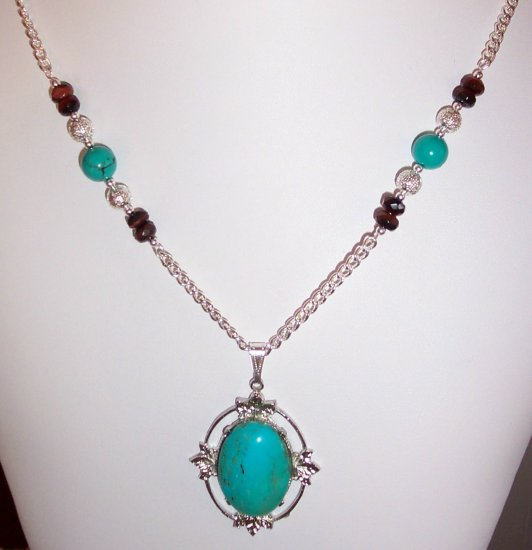 handcrafted Genuine Turquoise & faceted red tigerey beads necklace