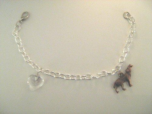 Eclipse Inspired Bella's Bracelet Handmade Charm Bracelet--Red Copper Howling Wolf