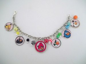 Handmade Angry Birds-Inspired Charm Bracelet
