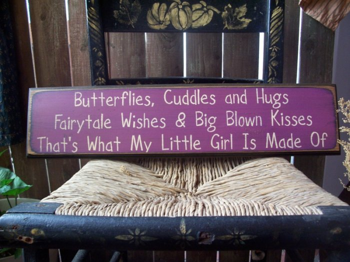 Primitive Butterflies Cuddles and Hugs FairyTale Wishes Sign