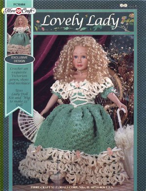 """Lovely Lady Fibre-Craft Crochet Dress Pattern Victorian Gown, Shoes, and Necklace for a 23"""" Doll"""