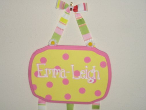 Yellow with pink polka dot hair bow holder