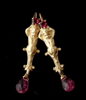 14k Gold French Classical Cherub with Pink Topaz Earrings