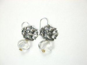 Sterling Silver Bird & Flowers & White Topaz Earrings