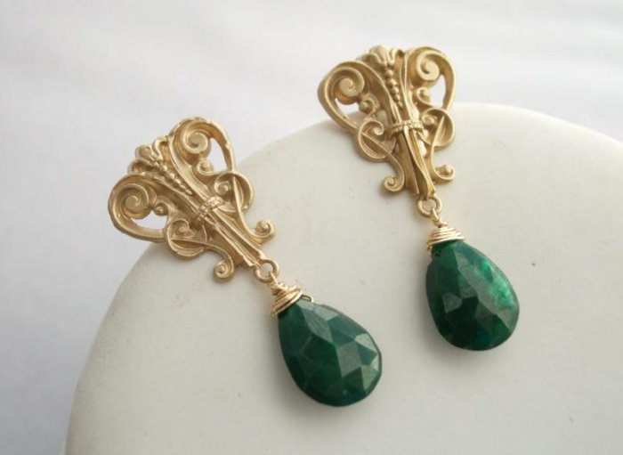 14kt Gold Vintage French Lyre with Emerald Earrings
