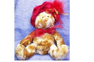 RED HAT TEDDY BEAR STUFFED ANIMAL PLUSH / HONEY COLOR