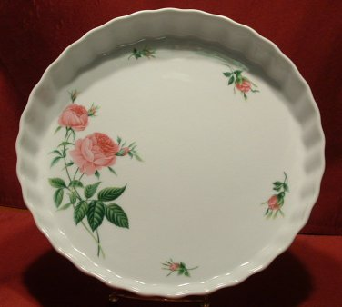 BAKING DISH / QUICHE OR PIE TART / CHRISTINEHOLM PINK ROSE COLLECTION
