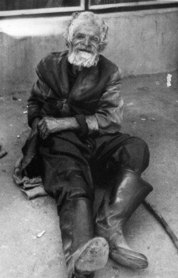 portrait of old beggar