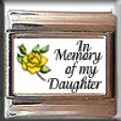 IN MEMORY OF DAUGHTER YELLOW ROSE BUD ITALIAN CHARM