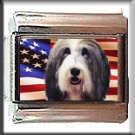 BEARDED COLLIE AND AM FLAG ITALIAN CHARM